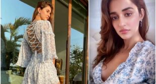 DISHA PATANI'S SUNKISSED PICTURES IN HER SHORT FLORAL SUMMER WEAR LEAVES INTERNET MESMERIZED