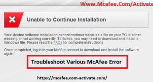 How To Resolve Various McAfee Antivirus Errors? Www.Mcafee.com/activate